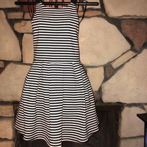 Black and white stripe dress tea party dress